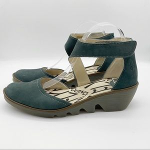 Fly London Piat Low Pump Ankle Strap Wedge Green